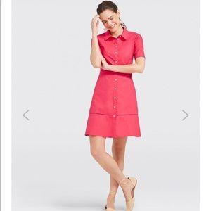 Draper James pink poplin lattice shirt dress sz 2